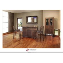 Cabinet w/2 Glass doors, 2 drawers & 2 doors - Solid wood w/Iron Base**