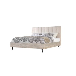 Emerald Home Nova King Bed Kit Sterling Gray Finish With Black Metal Legs B700-14-k
