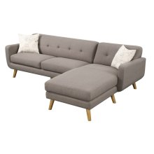 Sofa/chaise- Lsf Loveseat - Rsf Chaise Brown W/2 Accent Pillows