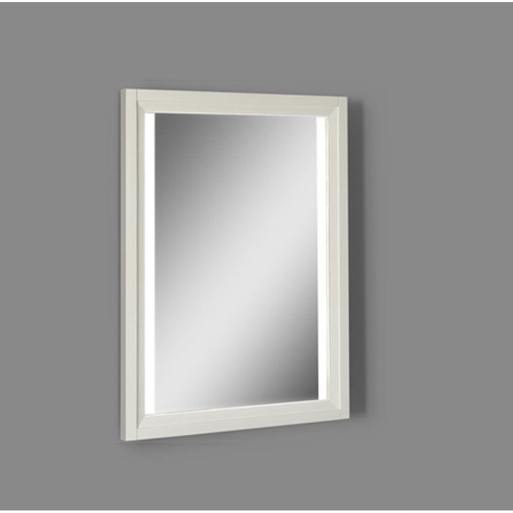 "Studio One 25"" Wood Frame LED Mirror - Glossy White"