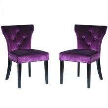 Elise Side Chair in Purple Velvet (Set Of 2)