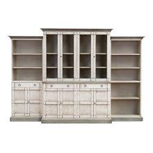 4 Piece Full Wall Unit, White & Grey