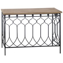 Natural Top Console Table with Black Frame