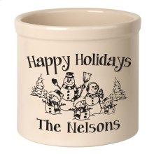 Personalized Snowman Family Three Child 2 Gallon Stoneware Crock - Black Engraving / Bristol Crock
