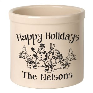 Personalized Snowman Family Three Child 2 Gallon Stoneware Crock - Black Engraving / Bristol Crock Product Image