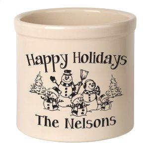 Personalized Snowman Family Three Child 2 Gallon Stoneware Crock - Black Engraving / Bristol Crock Product Image