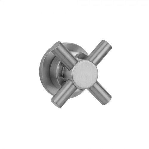 Polished Brass - Contempo Cross with Round Escutcheon Trim for Exacto Volume Controls and Diverters (J-VC34 / J-VC12 / J-20682 / J-20686 / J-20687 / J-20688 / J-20689)