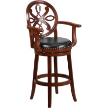 30'' High Cherry Wood Barstool with Arms, Carved Back and Black Leather Swivel Seat