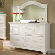 Six Drawer High Dresser and Landscape Mirror