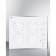 "24"" Wide 4-burner Electric Cooktop In Smooth White Ceramic Glass Finish"