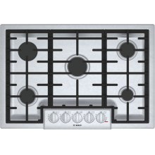 "800 Series, 30"" Gas Cooktop, 5 Burners, Stainless Steel"