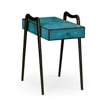 Teal Faux Shagreen and Bronze Legged End Table