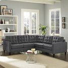 Empress 3 Piece Upholstered Fabric Sectional Sofa Set in Gray Product Image