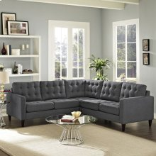 Empress 3 Piece Upholstered Fabric Sectional Sofa Set in Gray