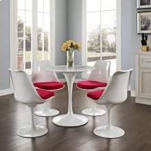 "Lippa 28"" Round Artificial Marble Dining Table in White"