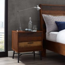 Arwen Rustic Wood Nightstand in Walnut