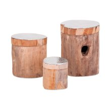 Abaco Teak and Aluminum Lidded Boxes - Set of 3
