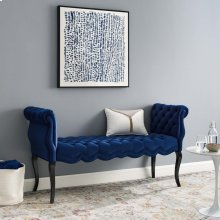 Adelia Chesterfield Style Button Tufted Performance Velvet Bench in Navy