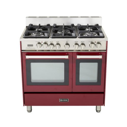"""Burgundy 36"""" Dual Fuel Convection Range with Double Oven"""