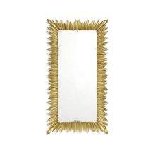 Gilded floor standing rectangular sunburst mirror