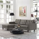 Empress Left-Facing Upholstered Fabric Sectional Sofa in Granite Product Image
