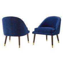 "Avalon Velvet Accent Chair Navy 24.5""x27""x30 [1pc/ctn]"