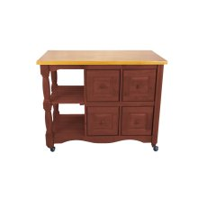 DCY-CRT-03-NLO  Regal Kitchen Cart  Nutmeg with Light Oak Top