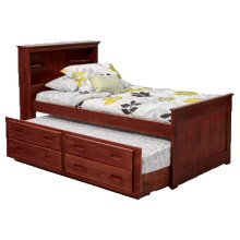 Twin Bookcase Captains Bed w/Trundle & Drawer