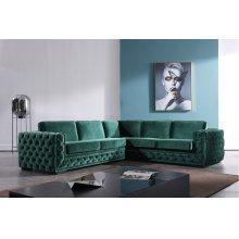 Divani Casa Jean Modern Green Velvet Sectional Sofa