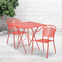 """Commercial Grade 28"""" Square Coral Indoor-Outdoor Steel Folding Patio Table Set with 2 Round Back Chairs"""