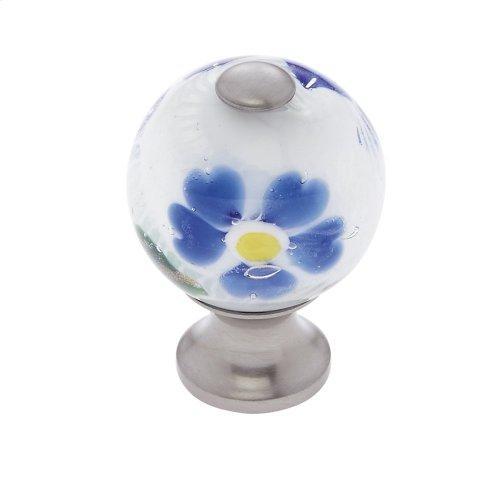 Satin Nickel 30 mm White Knob w/Flowers