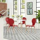 Path Dining Chairs and Table Set of 5 in Red Product Image