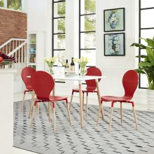Path Dining Chairs and Table Set of 5 in Red