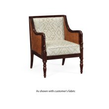 Bergere Brown Rattan Matte Sides And Back Occasional Chair, Upholstered in COM