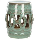 Blue-green Ceramic Double Coin Stool - Reactive Blue Product Image