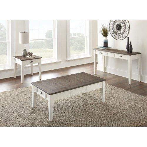 "Cayla Sofa Table, Dark Oak/ White, 54""x18""x30"""