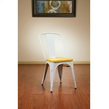 Bristow Metal Chair With Vintage Wood Seat, White Finish Frame & Ash Yellowstone Finish Seat