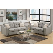 Light Grey Sofa and Love Seat with Chrome Legs and Black Trim