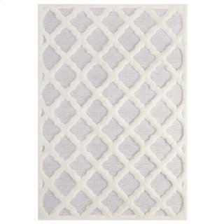 Whimsical Regale Abstract Moroccan Trellis 5x8 Shag Area Rug in Ivory and Light Gray