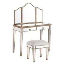 """Vanity Table 42 in. x 18 in. x 31 in. and Mirror 39 in. x 24 in. and Chair 18 in. x 14 in. x 18 in."""""""""""""""