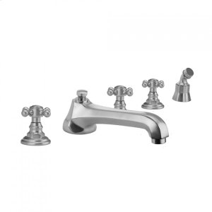 Antique Brass - Westfield Roman Tub Set with Low Spout and Ball Cross Handles and Angled Handshower Mount Product Image