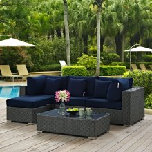 Sojourn 5 Piece Outdoor Patio Sunbrella® Sectional Set in Canvas Navy