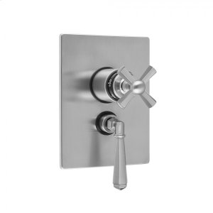 """Antique Brass - Rectangle Plate with Hex Cross Thermostatic Valve and Hex Lever Volume Control Trim for 1/2"""" Thermostatic Valve with Integral Volume Control (J-THVC12) Product Image"""