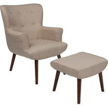 Bayton Upholstered Wingback Chair with Ottoman in Beige Fabric