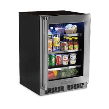 "24"" Beverage Refrigerator with Drawer - Stainless Frame, Glass Door With Lock - Integrated Left Hinge"