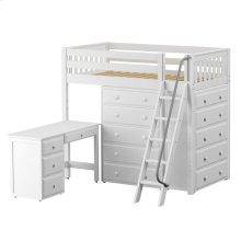 High Loft w/ Angle Ladder, 2 x5 Drawer Dressers & Desk : Twin : White : Slat