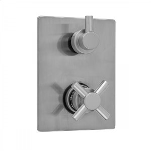 Antique Brass - Rectangle Plate with Contempo Cross Thermostatic Valve with Contempo Short Peg Built-in 2-Way Or 3-Way Diverter/Volume Controls (J-TH34-686 / J-TH34-687 / J-TH34-688 / J-TH34-689) Product Image