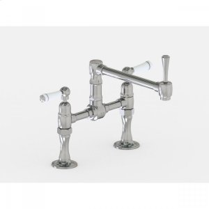 """Brushed Stainless - Deck Mount 8 7/8"""" Articulated Single Swivel Spout with White Ceramic Lever Product Image"""