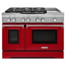 48'' 6-Burner with Griddle, Dual Fuel Freestanding Range, Commercial-Style - Signature Red Product Image