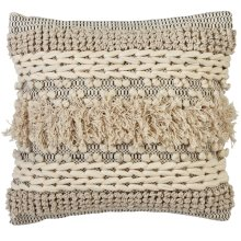 Hand Woven Black & White Bobble & Texture Stripe Pillow